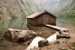 Boathouse at lake Obersee Royalty Free Stock Photography