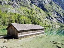 Boathouse at lake Obersee Stock Photos