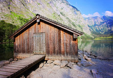 Boathouse at lake Obersee in Berchtesgaden Stock Image