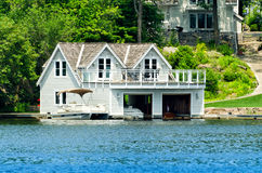 Boathouse with living quarters Royalty Free Stock Images