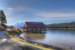 The Boathouse at Maligne Lake, Jasper National Park. The Boathouse at Maligne Lake in Jasper National Park, Canada Royalty Free Stock Images