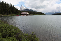 Boathouse at Maligne Lake. A local beauty spot in the Canadian Rocky Mountains Royalty Free Stock Photos