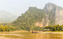 Boathouse on Mekong River, Luangprabang Laos Stock Photography