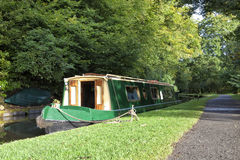Boathouse moored English canal waterways Stock Photos