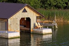 Boathouse for motorboat. Stock Photos