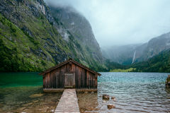 Boathouse near Koenigssee Lake in Bavaria, Germany. Royalty Free Stock Photos