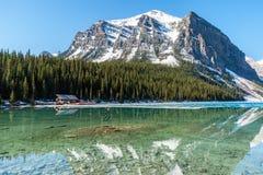 Boathouse obok Jeziornego Louise, Banff -, Alberta, Cana obrazy royalty free