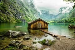 Free Boathouse On Obersee Royalty Free Stock Image - 184152756