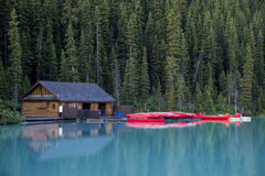 Boathouse and canoes, Banff National Park Stock Images