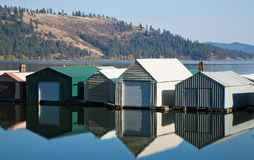 Boathouse reflections Royalty Free Stock Photos