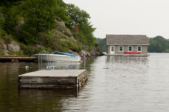 Boathouse at a rocky shore Royalty Free Stock Photography