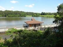 Boathouse on Shelley Lake, North Carolina Stock Image