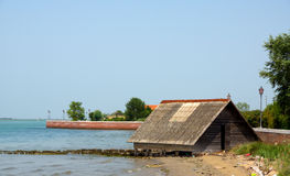 Boathouse at the shore Royalty Free Stock Photo