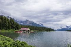 Boathouse on the side of a gorgeous lake stock image