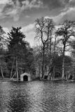Boathouse at the side of the lake. Painshill Park, Surrey. Royalty Free Stock Photos