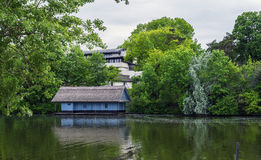 Boathouse in spring season Stock Images