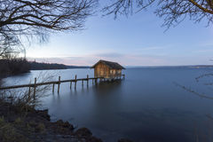 Boathouse in Stegen at Lake Ammer Royalty Free Stock Image