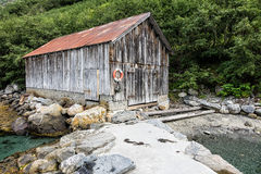 Boathouse on Storfjord Royalty Free Stock Photo