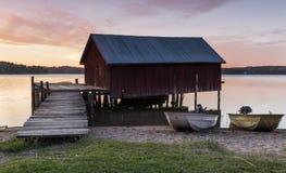 Boathouse w zmierzchu Obrazy Royalty Free