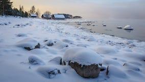 Boathouses στην ανατολή Στοκ Φωτογραφίες