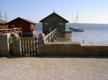 Boathouses. Ammersee, Germany 2010 Royalty Free Stock Photo