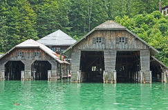 Boathouses At The Koenigssee Lake Close To Berchtesgaden Royalty Free Stock Images