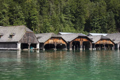 Boathouses At The Koenigssee Lake Close To Berchtesgaden, German Stock Image