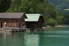 Boathouses, bank of Wolfgangsee, Austria Stock Image