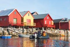 Boathouses on the coast of Norway Royalty Free Stock Photos