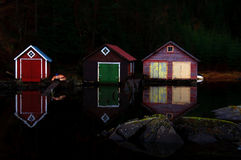 Boathouses in the evening Stock Image