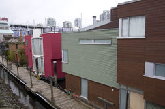 Boathouses at Granville Island Royalty Free Stock Images