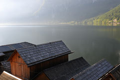 Boathouses in hallstadt, austria Royalty Free Stock Photography