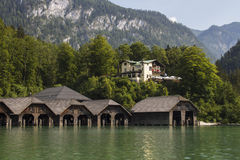 Boathouses at the Koenigssee lake close to Berchtesgaden, German Stock Photography