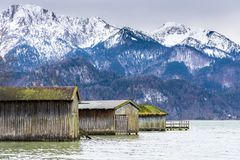 Boathouses at Lake Kochelsee Royalty Free Stock Photos