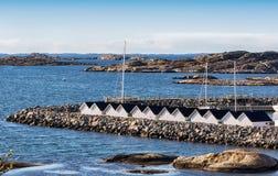 Boathouses na Szwedzkim zachodnim wybrzeżu Obraz Stock