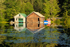 Boathouses in New Hampshire Stock Photo