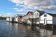Boathouses sul lago Canandaigua, New York Immagini Stock