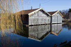 Boathouses viejos Fotos de archivo libres de regalías