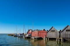 Boathouses w porcie Ahrenshoop, Niemcy Fotografia Royalty Free