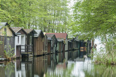 Boathouses in Wustrow, Mecklenburg-Vorpommern Royalty Free Stock Image