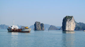 Boatin Ha Long Bay, near the island of Cat Ba, Vietnam Royalty Free Stock Photos
