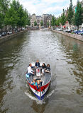 Boating in Amsterdam Royalty Free Stock Photo