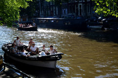 Boating in Amsterdam Royalty Free Stock Image