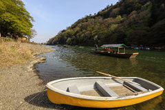 Boating in Arashiyama. This picture was taken in Arashiyama district in Kyoto Japan Stock Photography