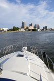 Boating with Atlantic City Skyline from the bay. Boating in the back bay with view of the Atlantic City, New Jersey skyline showing some of the resorts hotels Stock Photography