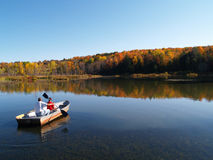 Boating in autumn royalty free stock images