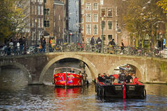 Boating in Autumn in Amsterdam, Holland Stock Image