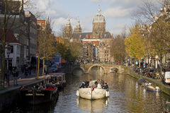 Boating in Autumn in Amsterdam, Holland Royalty Free Stock Photography