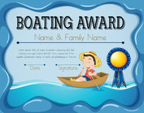 Boating award template with boy rowing boat background Stock Images