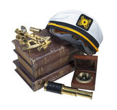 Boating Books Captain Hat Sextant Telescope Stock Images